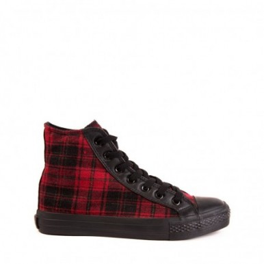 BASKET BOTA CUADRO ESCOCES RED
